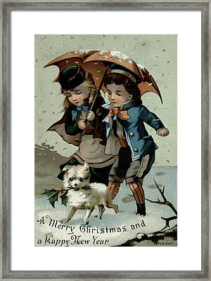 Umbrella In The Snow, Victorian Postcard Framed Print by English School