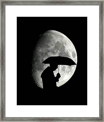 Umbrella Man With Moon Framed Print