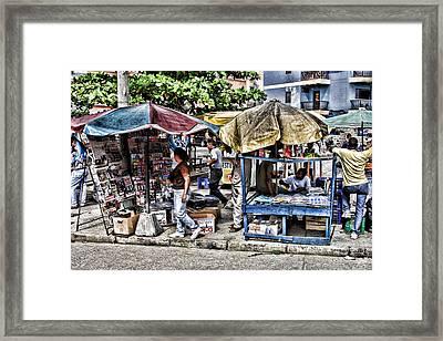 Umbrella Market Framed Print by Linda Phelps
