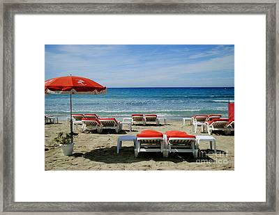 Umbrella On The Blue Beach Of Cote Dazur Framed Print