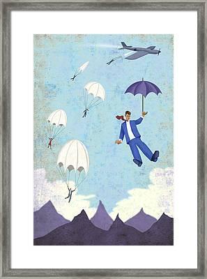 Umbrella Parachute Framed Print by Steve Dininno