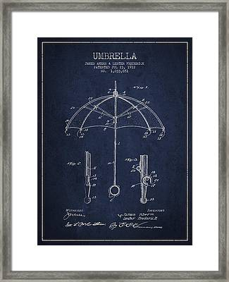 Umbrella Patent Drawing From 1912 Framed Print by Aged Pixel