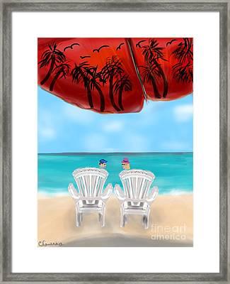 Umbrella View Framed Print by Christine Fournier