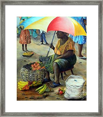 Framed Print featuring the painting Umbrella Woman by Anna-Maria Dickinson