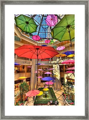 Umbrellas At Palazzo Shops Framed Print