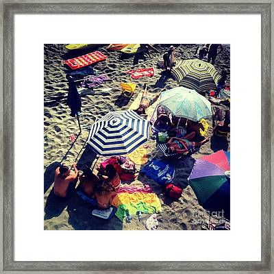 Umbrellas At The Beach Framed Print by H Hoffman