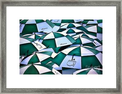 Umbrellas At The Masters Framed Print