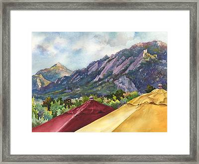 Umbrellas At The St. Julien Framed Print by Anne Gifford