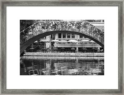 Umbrellas Reflected In Riverwalk Under Foot Bridge San Antonio Texas Black And White Framed Print