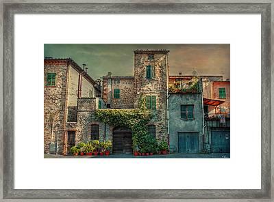 Umbrian Terrace Framed Print by Hanny Heim