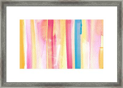 Umrbrella Stripe- Contemporary Abstract Painting Framed Print by Linda Woods