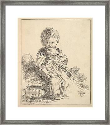 Un Enfant Assis Sur Une Motte De Terre Framed Print by Madame la Marquise de Pompadour
