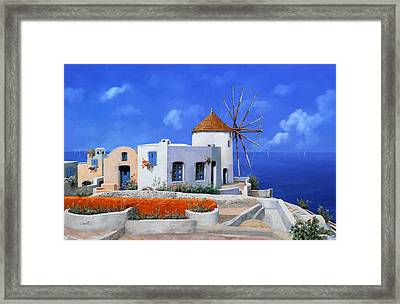 un mulino in Grecia Framed Print