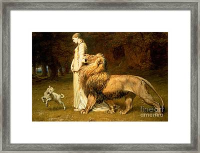 Una And Lion From Spensers Faerie Queene Framed Print by Briton Riviere