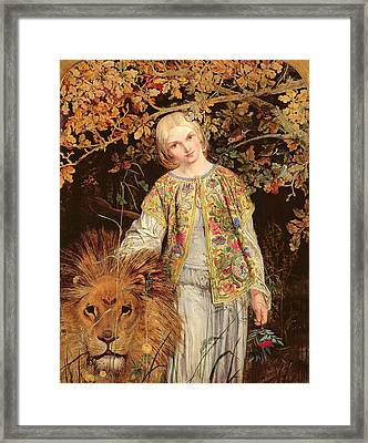 Una And The Lion, Exh. 1860 Framed Print by William Bell Scott