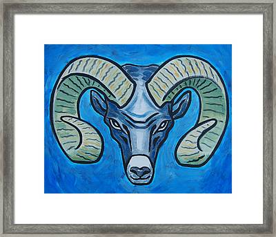 Ram With Sky Blue Framed Print