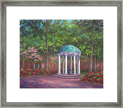 Unc Old Well In Spring Bloom Framed Print by Jeff Pittman