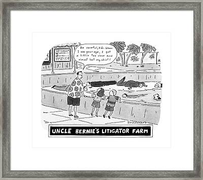 Uncle Bernie's Litigator Farm Be Careful Framed Print by Danny Shanaha