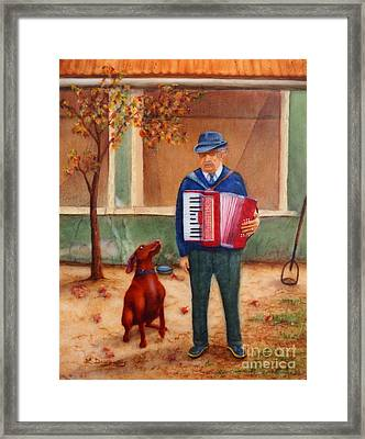 Uncle Ioan And Rocky In Romania Framed Print