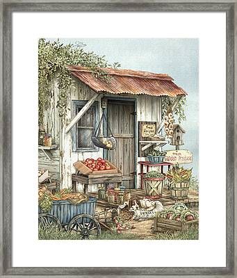 Uncle Ralph's Veggies Framed Print by Beverly Levi-Parker