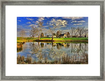 Uncle Remus's House Reflection Near Lake Oconee And Eatonton Ga Framed Print by Reid Callaway