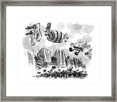 Uncle Sam In A Barrel Is A Float In A Parade Framed Print by Lee Lorenz