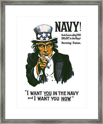 Uncle Sam Navy Enlistment Poster  1917 Framed Print by Daniel Hagerman