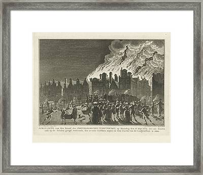 Uncontrollable Fire In The Amsterdam Theater Seen Framed Print by Quint Lox