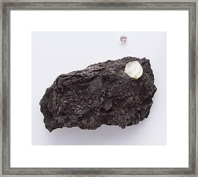 Uncut Diamond In Rock Framed Print