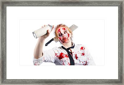 Undead Woman With Spray Can Framed Print