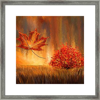 Undeniably Autumn- Autumn Impressionist Painting Framed Print by Lourry Legarde