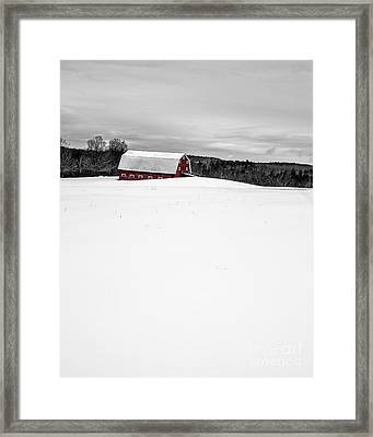 Under A Blanket Of Snow Christmas On The Farm Framed Print by Edward Fielding