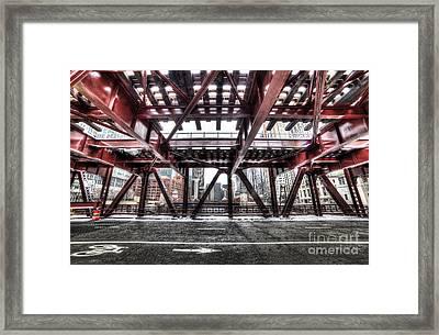 Under A Bridge In Chciago Framed Print by Twenty Two North Photography