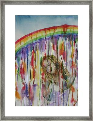 Framed Print featuring the painting Under A Crying Rainbow by Anna Ruzsan