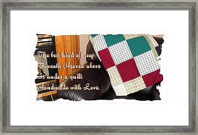 Under A Quilt Handmade With Love Framed Print by Barbara Griffin