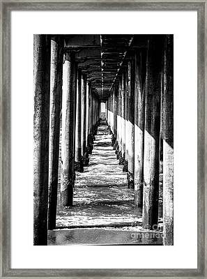 Under Huntington Beach Pier Black And White Picture Framed Print