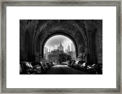 New York City - Manhattan Bridge - Under Framed Print