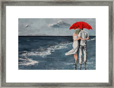 Under Our Umbrella - Modern Impressionistic Art - Romantic Scene Framed Print