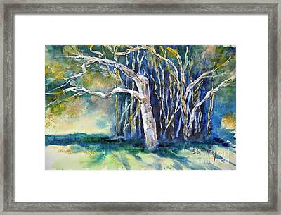 Framed Print featuring the painting Under The Banyan Tree by Sally Simon
