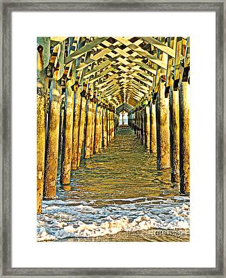 Under The Boardwalk - Hdr Framed Print