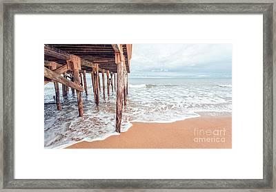 Under The Boardwalk Salsibury Beach Framed Print by Edward Fielding