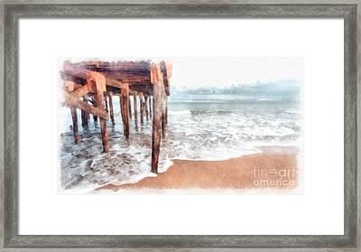 Under The Boardwalk Watercolor Framed Print by Edward Fielding