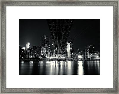 Under The Bridge - New York City Skyline And 59th Street Bridge Framed Print