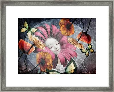 Framed Print featuring the digital art Under The Bubblemoon by Barbara Orenya