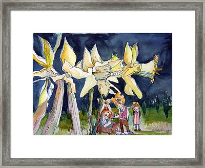 Under The Daffodils Framed Print by Mindy Newman