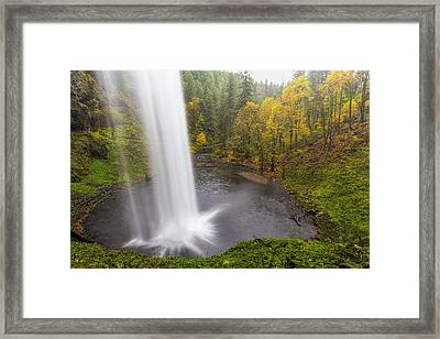 Under The Falls With Autumn Colors In Oregon Framed Print by David Gn