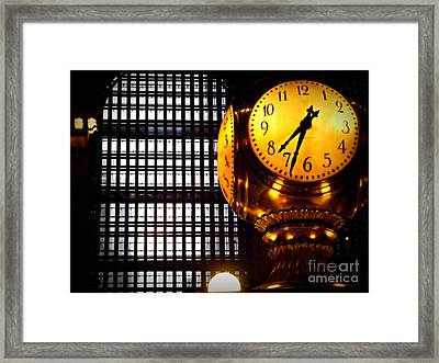 Under The Famous Clock Framed Print by Miriam Danar