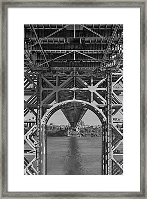 Under The George Washington Bridge I Bw Framed Print by Susan Candelario