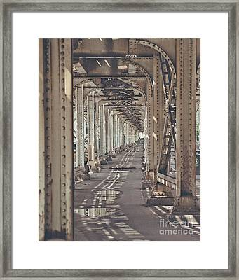 Under The L In Chicago Framed Print by Emily Kay