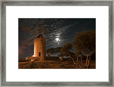 Vintage Windmill In Es Castell Villacarlos George Town In Minorca -  Under The Moonlight Framed Print